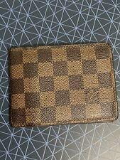 Authentic Louis Vuitton Brown Damier Mulitiple Card Wallet Bifold Canvas Leather