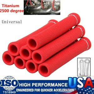 8X 1200° Spark Plug Wire Boot Protector Sleeve Heat Shield Cover SBC BBC 350 Red