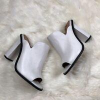 Alias Mae White Admon Mule Heels Size 38 US 7.5