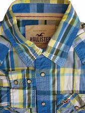 Hollister Camicia Da Uomo 17 L Blu Nero Bianco & Giallo i bottoni automatici