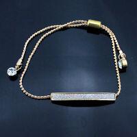 Gold/Silver Chain Bangle Crystal Pave Bar Slider Bracelet Adjustable Drawstring