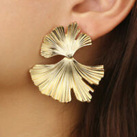 Punk Geometric Ginkgo biloba Blatt Tropfen Ohrringe Frauen Statement Ohrring Gut