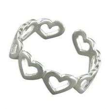 Toe Ring - Adjustable Solid Sterling Silver Open Hearts