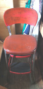 Vintage Cosco Red Chrome Kitchen Step Stool Chair, Retro, Counter, Sliding Steps