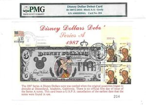 $5 DISNEY DOLLARS 1987 FIRST DAY STAMP CANCEL DEBUT CARD LUCKY MONEY VALUE $3000