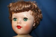"Vintage Rubber Doll 23"" Red Hair Open and Close Eyes"