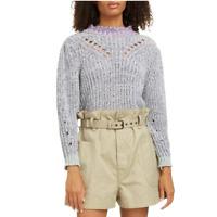 Isabel Marant Etoile $415 Blue Lotiya Mock Neck Long Sleeve Cotton Sweater 42 XL