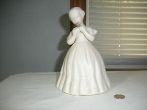 VINTAGE BISQUE FIGURINE, SIGNED 'NAPY?' BY ARTIST, VICTORIAN-STYLED, PINK ROSE