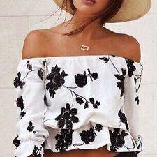 Crop Top | Off the Shoulder Top | Black and white floral design | Holley Day