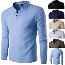 New Mens Fashion Casual Polo Tee Slim Fit V-neck Long Sleeve Tops Tee T-shirt