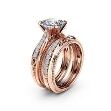 Engagmeng Rind & Wedding Band in 18k Rose Gold Plated