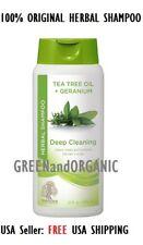 Herbal Deep Clean Shampoo Tea Tree & Geranium Oil Essences Hair Fall Scalp 12 oz
