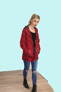 Charcoal Fashion Women's Red Water Resistant Festival Rain Mac / Rain Coat