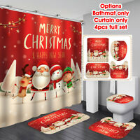 US Xmas Santa Claus Waterproof Shower Curtain Bath Mat Rug Lid Toilet Seat Cover