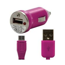Chargeur voiture allume cigare USB + Cable data rose fushia pour HTC : 7 Mozart