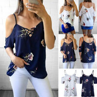 US Womens Cold Shoulder Floral Short Sleeve Top Casual Loose Blouse T-Shirts Tee