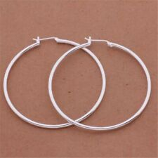 "Womens 925 Sterling Silver 50mm 2"" Big Round Large Thin Hoop Earrings E39"