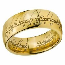 18K Gold Tungsten The One Ring Lord of the Rings Elvish Text 8mm Size 6.5
