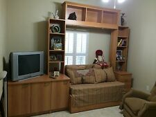 Brown wood custom made wall bed with a queen sized bed
