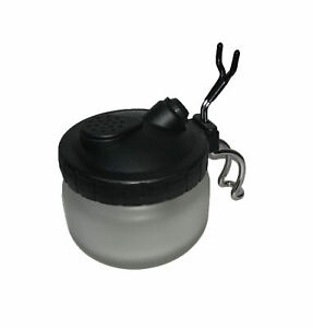 AIRBRUSH CLEANING POT HOLDER 3 IN 1 WITH GLASS JAR BLACK LID BY RDG TOOLS