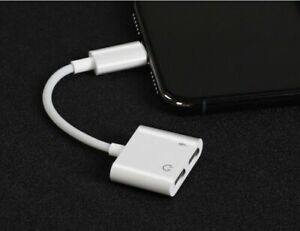 For iPhone X 7 8 XS 11 Plus Dual 2in1 Earphone Audio & Charger Adapter Splitter