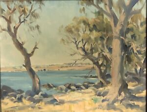 """Ambrose Sylvester Griffin (Aust 1912-1980) """"On the Foreshore"""" Oil Painting"""
