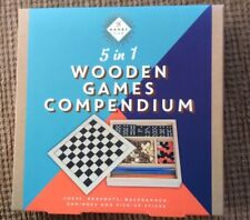 5 In One Wooden Games Compendium, Chess Droughts Dominoes Backgammon Pick Sticks