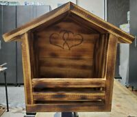 """5/8"""" Thick Pine Handmade Dove House w/Torched Finish. Sealed and Waterproofed."""