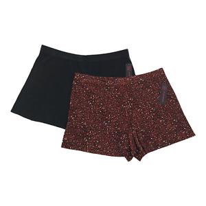 Women's Junior Pleated Shorts XL15-17 Black & Cheetah Rust No Hem Sheer 2 Pc A16
