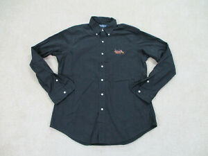 Ralph Lauren Polo Button Up Shirt Adult Large Black Brown Big Pony Casual Mens *