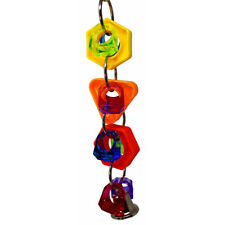 New listing Bl_ Funny Plastic Ring String Bell Parrot Bite Play Toy Bird Cage Hanging Decor