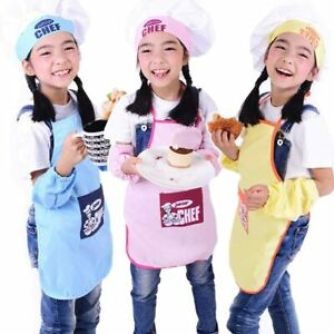 Kids Apron Chef Hat Set Childrens Cooking Baking Aprons For Boys Girls Kitchen