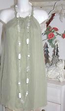 Traffic People Dress Neckholder A-Linie 100% Seide Silk Green   Size: S  Neu
