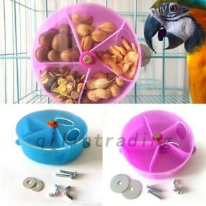 Round Parrot Toy Foraging 5 Grid Feeder Bird Cage Chew Feeder Foraging Toy AU