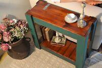 Tavolino da divano salotto caffè in legno massello Noce Verde con Contenitore