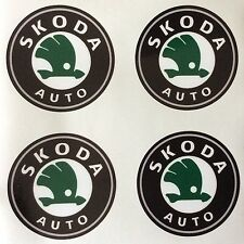 4 x Wheel stickers SKODA 70 mm center badge centre trim cap hub alloy