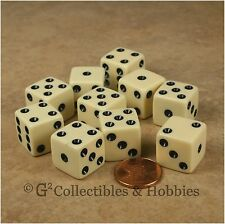NEW 10 Ivory w Black D6 6 Sided RPG Bunco Game Dice Set 16mm 5/8 inch