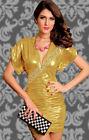 Vestito discoteca DORATO satinato festa sexy vestitino mini abito donna ragazza