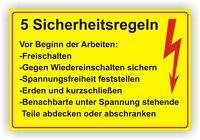 5 Sicherheitsregeln Warnschild Hinweis Schildn/ Elektro Schild /Alu-Verbund 3mm