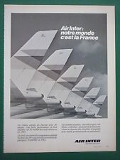 4/1983 PUB COMPAGNIE AIR INTER AIRLINE AIRLINER TAIL 18 ORIGINAL FRENCH AD