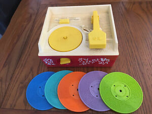 Vintage Fisher Price Music Box Record Player with 5 Double-Sided Discs