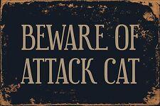 """Beware Of Attack Cat 8"""" x 12"""" Vintage Aluminum Retro Metal Sign VS459"""