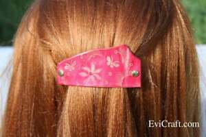red leather hair clip, French hair barrette, butterfly, flower, M size