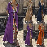 Fashion Women's Casual Long Maxi Sundress Beach Party Boho Floral Print Dress