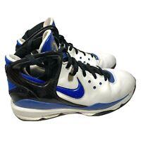 Nike Zoom Men Size 11.5 High Top Basketball Shoe White/Blue/Black Leather 318690
