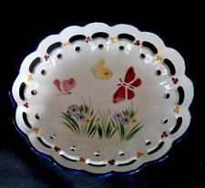 PORTUGUESE POTTERY CUT OUT HAND PAINTED OVAL BOWL, BUTTERFLIES & FLOWERS