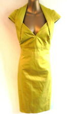 Karen Millen 12/14 Dress in Acid Green cotton V neckline pencil style (B868