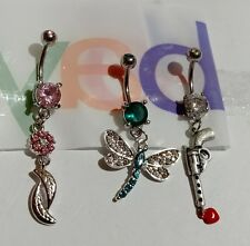 Lot of 3 Belly Button Ring Dangle Navel Set Piercing Body Jewelry Flower Gun
