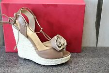 NIB Authentic VALENTINO FLOWER ESPADRILLES Wedge Platform Sandals Shoes 39