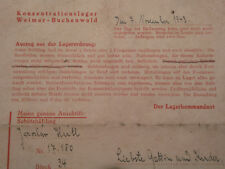 1943 Germany Buchenwald Concentration Camp Letter KZ LM 17.180  34 WWII